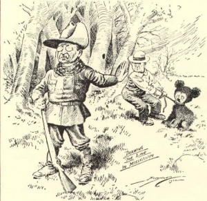 Political Cartoon Roosevelt not Shooting a Tied up Bear